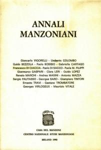 Copertina, Annali Manzoniani