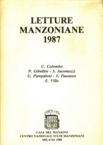 Copertina, Letture manzoniane, 1988